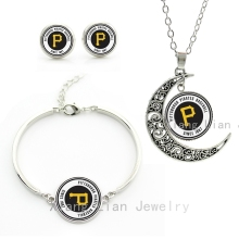 Good quality cheap costume jewelry sets case for Pittsburgh Pirates baseball sports team necklace earrings bracelet set gift M26
