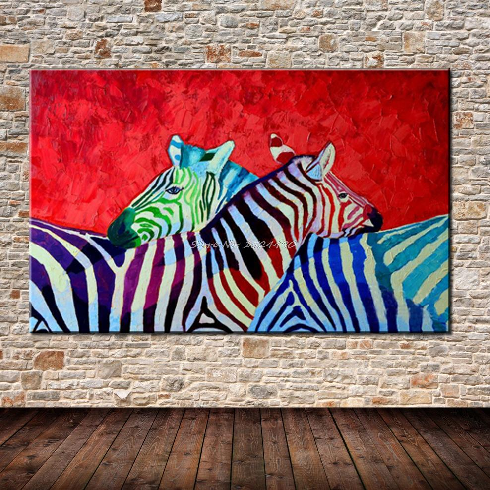 Oil Based Wall Paint Part - 38: Hot Sell Free Shipping Hand-painted Modern Red Base Horse Zebra Animal Wall  Painting Home