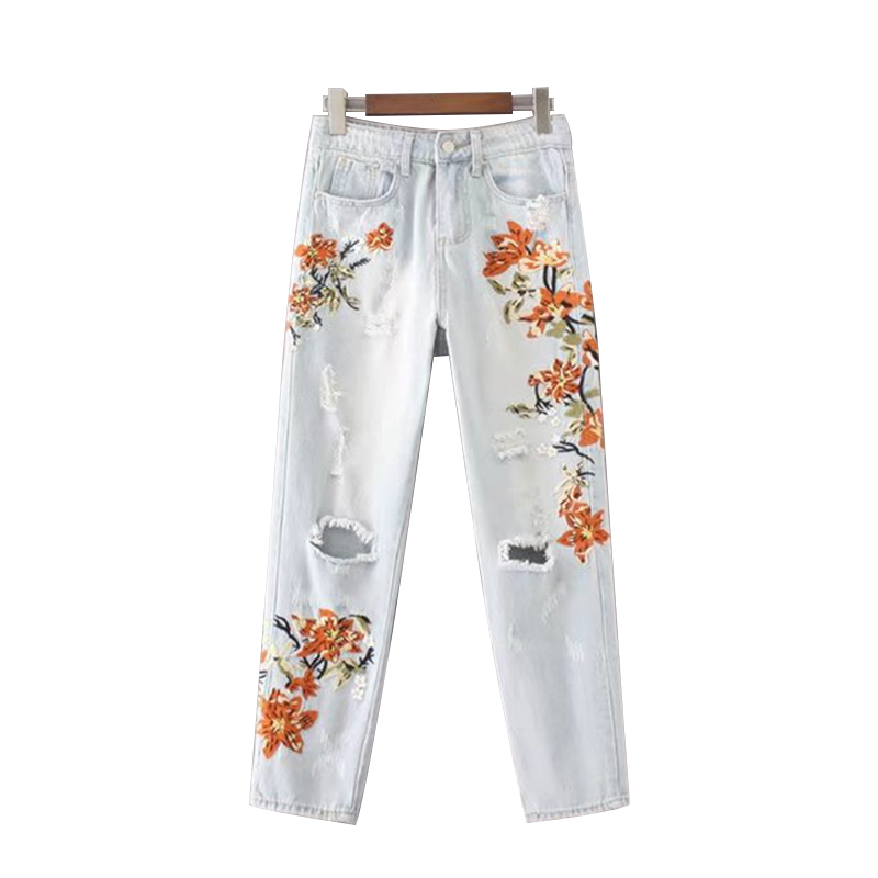 Women Jeans Vintage flower embroidery high waist  Pocket straight jeans Female bottom Light blue hole casual pants capris New flower embroidery jeans female blue casual pants capris 2017 spring summer pockets straight jeans women bottom a46