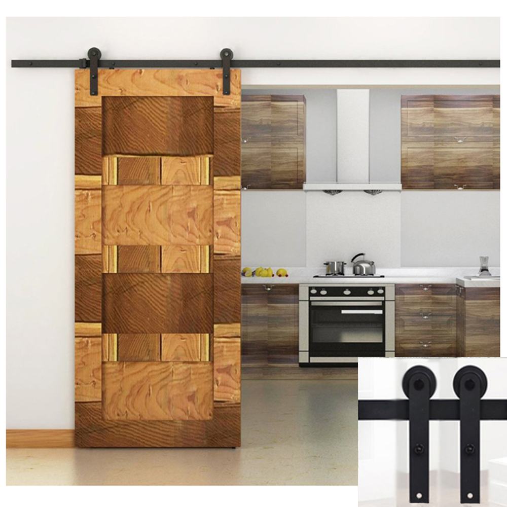 5ft Black Country American Style Straight Design Barn Wood Steel Modern Sliding Single Door Hardware Closet