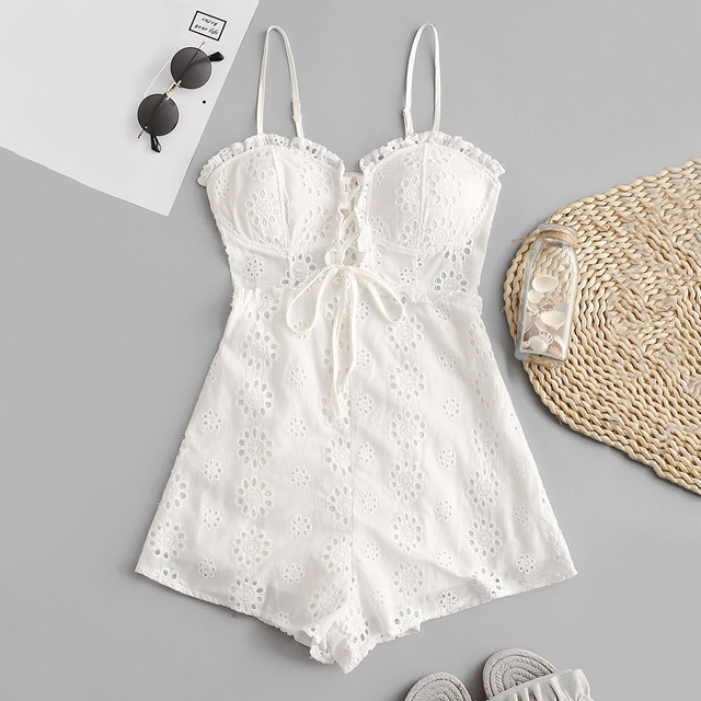 ZAFUL Women Playsuits 2019 Summer Elegant Sexy Party Rompers Spaghetti Strap Lace Up Casual Cotton British Vintage Lace Jumpsuit