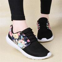 2018 Spring Print Flower Women Flats Shoes Breathable Mesh Ladies Female Casual Shoes Leisure Footwear Women