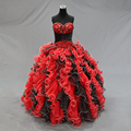 Bewitching Looking Ball Gown Embroidery Beading Ruffles Organza Red Black Quinceanera Dresses for 15 Years Real Pictures