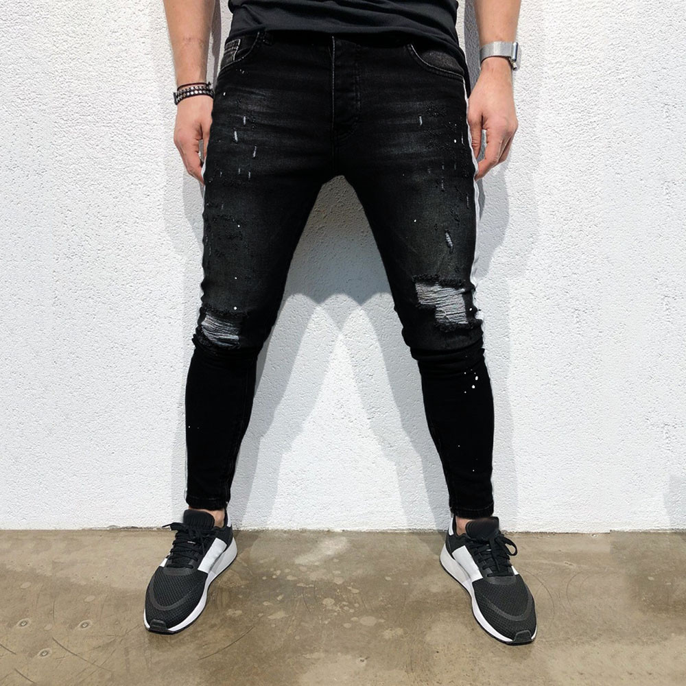 Mens Hole Skinny Pants Slim Fi...