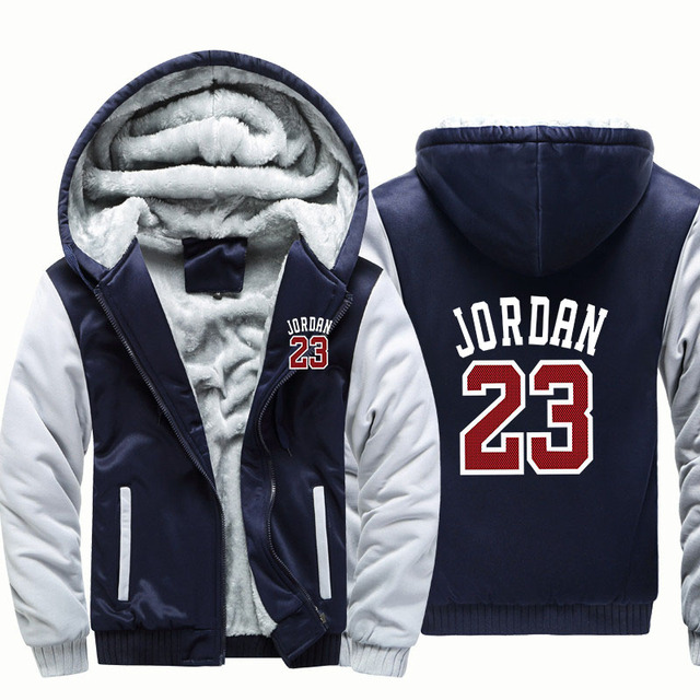 a58929a6b47995 Winter Warm Thick Plus Design Men 2018 Baseball Hoodies Stylish Jordan 23  Printed Novelty Slim Jacket Jordan Hip-hop Male Hoodie