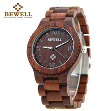BEWELL 2016 Fashion Wood Quartz Watch Men Wooden Brand  Luxury Analog Display Wristwatch Relogio Masculino Gift Box 065A