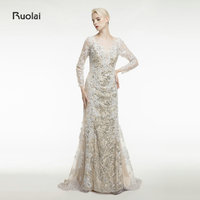 Custom Made Lace Applique Mermaid Evening Dresses Scoop Sheer Long Sleeves Gold Arab Dress Formal Evening Party robe de soiree