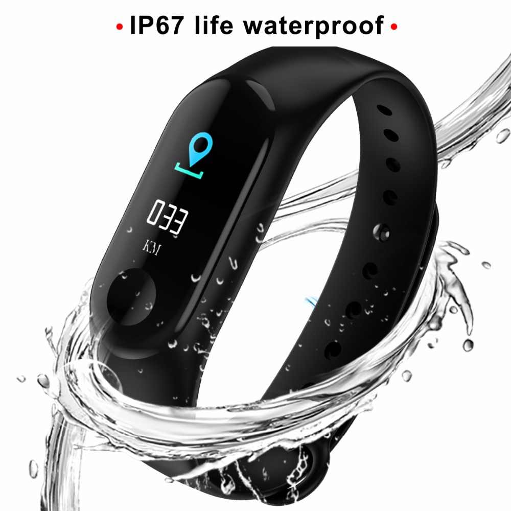 75a08c8f628 M3 Fitness Bracelet Sport Digital Smart Watch Women IP67 Waterproof Blood  Pressure Oxygen Color IPS Screen