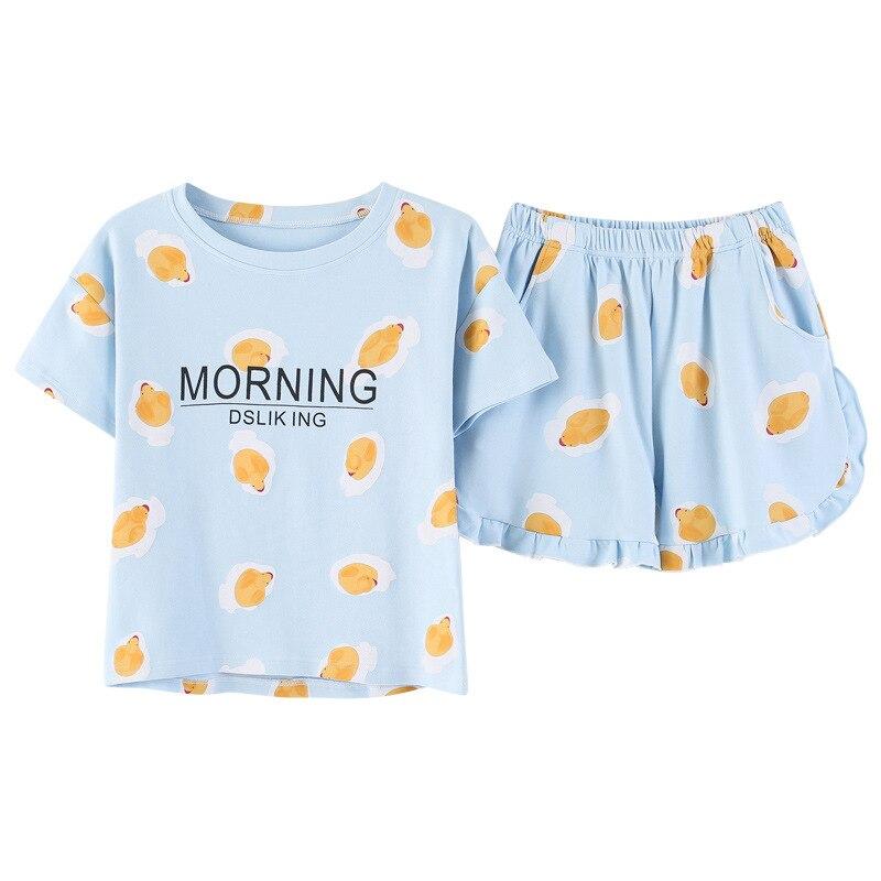 Light Blue   Pajamas   Girls Women Little Duck Print   Pajama     Set   Ruffles Elastic Waist Short Sleeve Cotton Lounge pyjamas S83805
