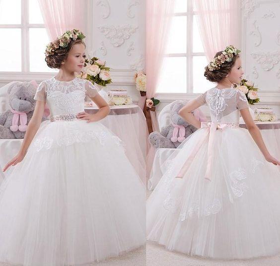 New Fluffy Tulle Lace White Flower Girl Dress For Wedding Short
