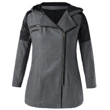 Plus Size Autumn Hooded Wool Jacket for Women