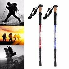 Buy online Adjustable Nordic Hiking Walking Stick Telescopic Trekking Poles Alpenstock Ultralight Anti Shock Rubber Tips Aluminum Protector