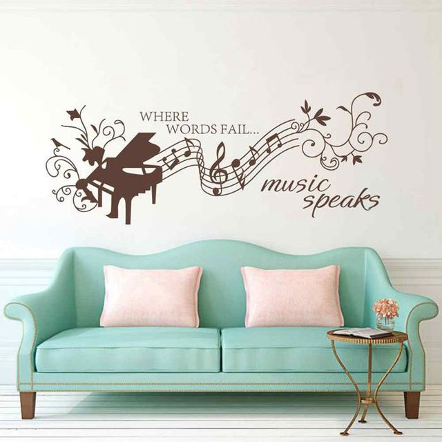 BATTOO Music Wall Decal Quotes  Where Words Fail Music Speaks Wall Decal   Music Notes