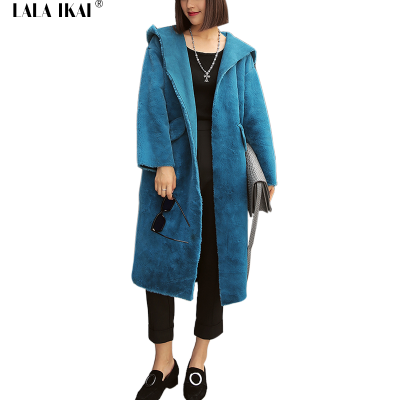 Winter Hooded Trench Coat Women Faux Fur Jackets and Coats Suede Outerwear Plus Size XXXL Thicken Warm Long Maxi Coats SWQ0220-4
