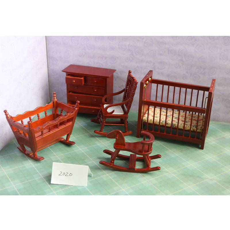 1:12 wooden miniature baby room dollhouse furniture toy for dolls mini Crib chair pretend play kids toys girls children gifts