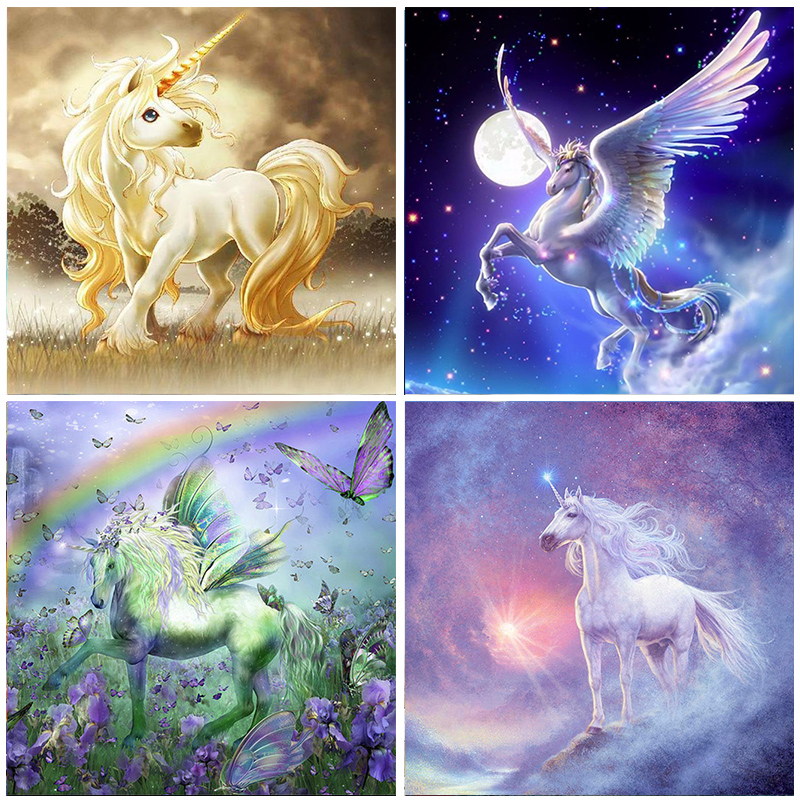 5D Diamond Painting Unicorn Cartoon Pattern Full Round Drill Embroidery Animal Home Decoration Mosaic Crystal Cross Stitch Gifts(China)