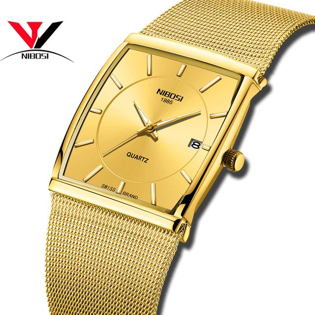 NIBOSI Golden Quartz Watch Men Watches relogio masculino Top Luxury Gold Bracelet Wrist Watches Steel Waterproof Male Clock