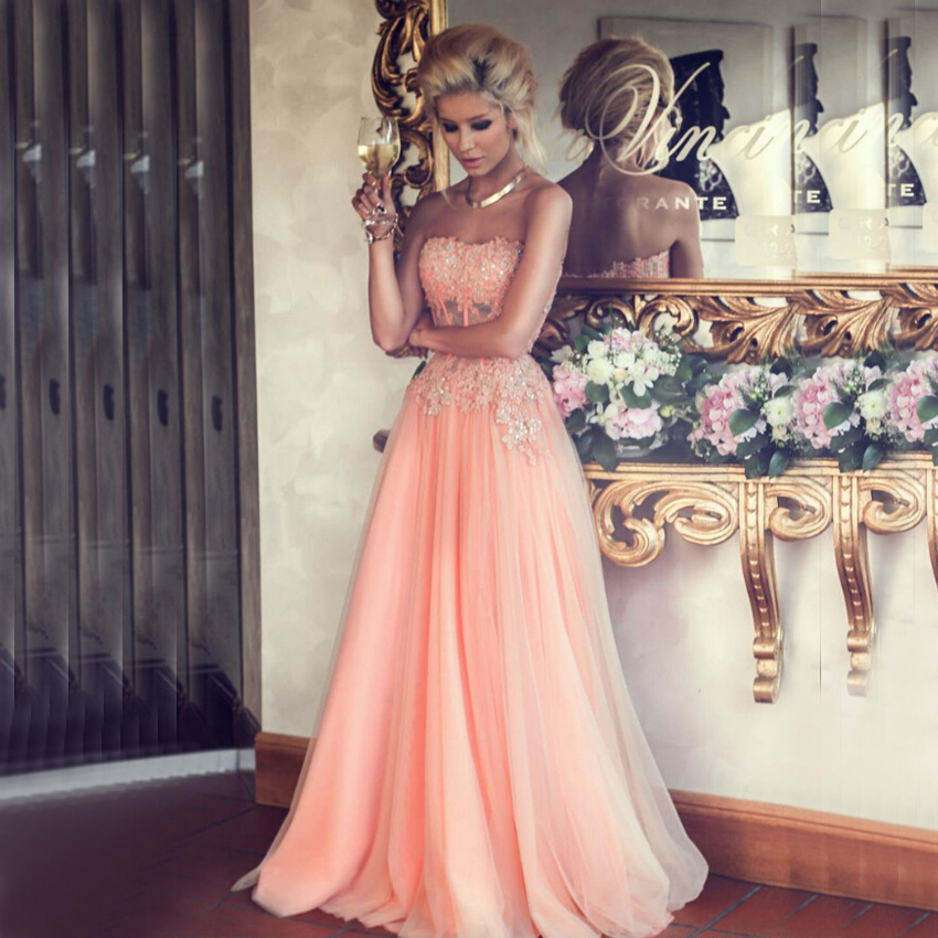 Vnaix PV465 2015 New Arrival Sweetheart Neck See Through Top Part A Line Long Tulle Elegant Lace Prom Dress Party Gowns