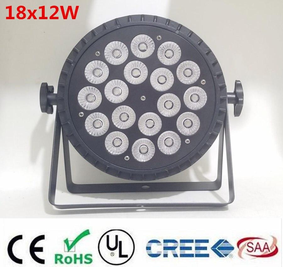 NOUVEAU aluminium coulée sous pression 18x12 W RGBW 4in1 led par wash par led LED Plat Par Can 18x12 W Éclairage pour la Partie KTV Disco DJ Lampe