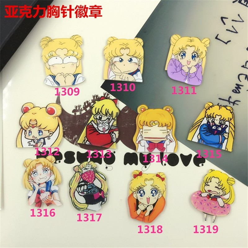 Fashion Jewelry Cute Cartoon sailor moon costumes Badge Beautiful girl Charm Brooch Pins for Women XZ59