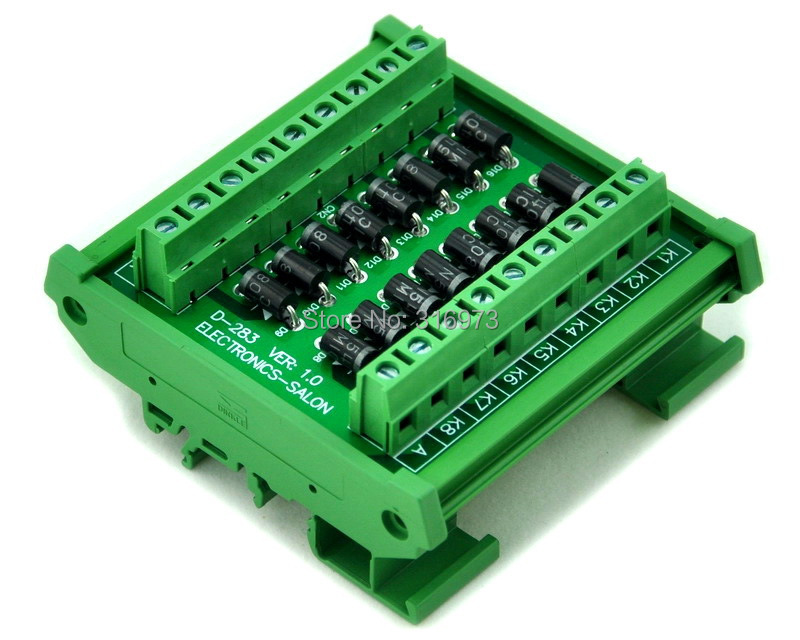 DIN Rail Mount 3 Amp 1000V Common Anode 16 Diode Network Module, 1N5408.