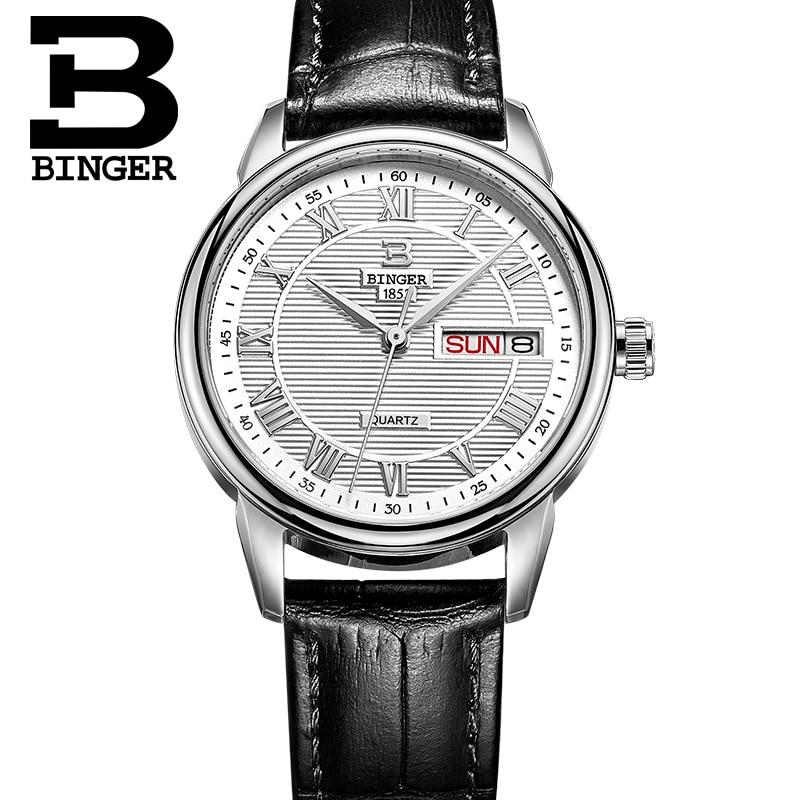 2016 Quartz-watch Leather strap Brand Women Wrist Watch Vintage BINGER 50m Water Resistance Women Female Fashion Quartz watch аксессуары для косплея neko cosplay