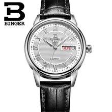 2016 Quartz-watch Leather strap Brand Women Wrist Watch Vintage BINGER 50m Water Resistance Women Female Fashion Quartz watch