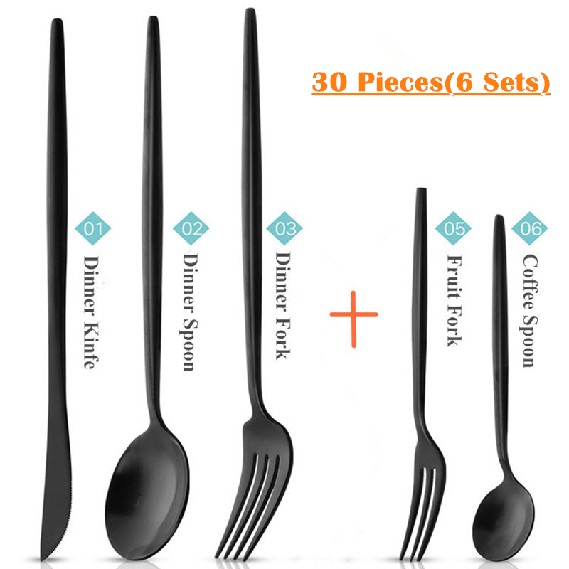 30pcs KuBac Hommi Quality Stainless Steel Knife With Fruit Fork Party Dinnerware Set Matte Black Cutlery