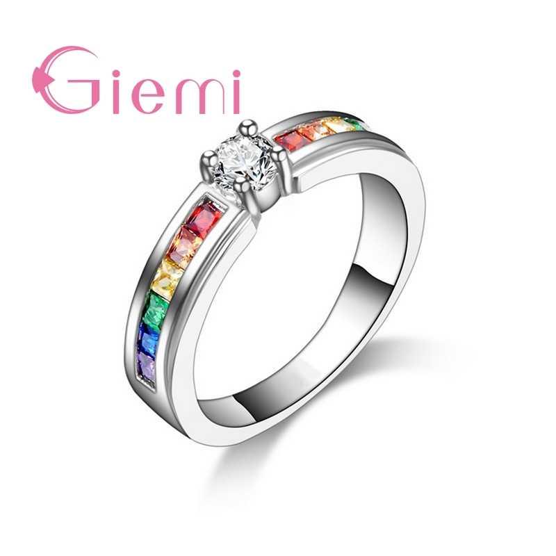 חדש הגעה צבעוני קשת קריסטל 925 סטרלינג כסף להקת טבעת לנשים נשי מסיבת חתונה אירוסין תכשיטים