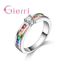 New Arrival Colorful Rainbow Crystal 925 Sterling Silver Band Ring for Women Female Party Wedding Engagement Jewelry(China)