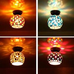 Kreatywna pojedyncza mozaika E27 lampa sufitowa styl industrialny Retro wiatr okrągła szklana lampa sufitowa do apartamentu restauracja/Bar Hotel Cafe