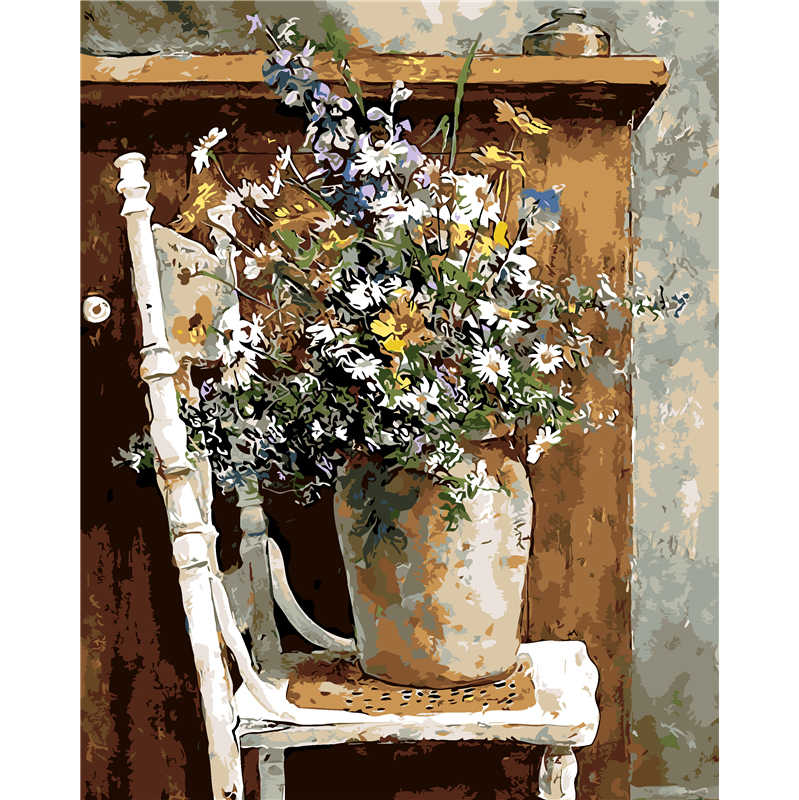 Frameless Wall Decor Pictures Painting By Numbers Hand Painted On Canvas Decoration Painting Still Life Flower Canvas Painting