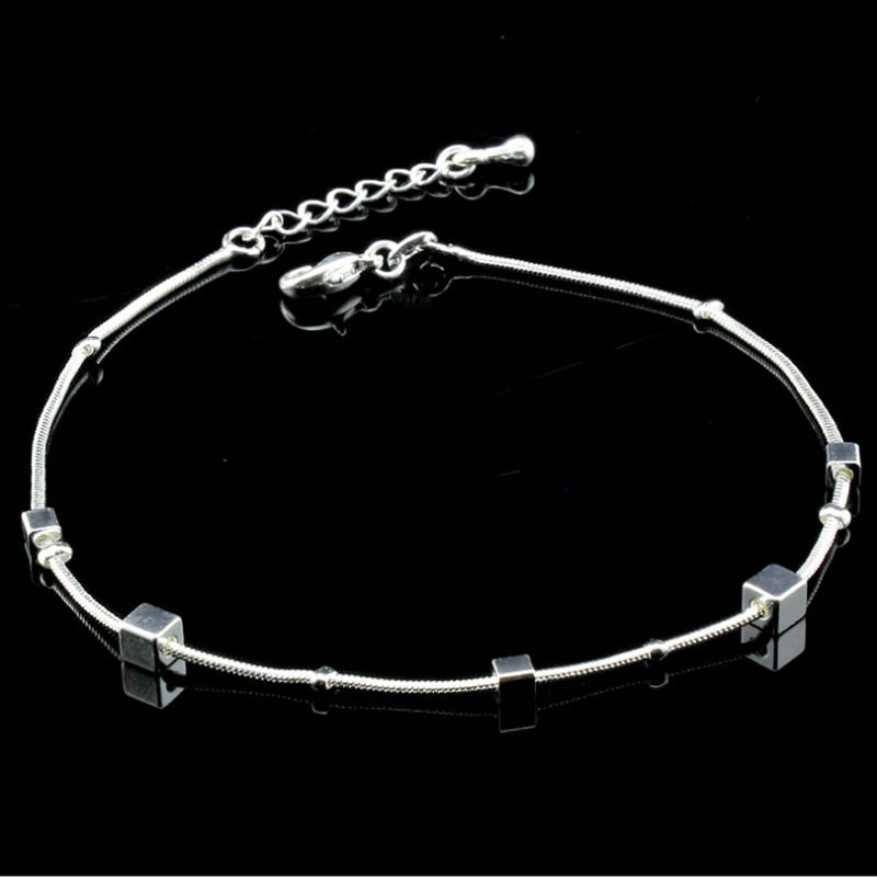 Fashion Trendy Square Charm Anklet For Women Ankle Bracelet on Leg Adjustable Beach Foot Accessories