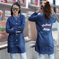 Mujeres Blue Jean Paño Exterior ropa Larga Tops de Lentejuelas Carta Posterior de la Hembra Larga Capa Delgada Mujer Chaquetas Delgadas
