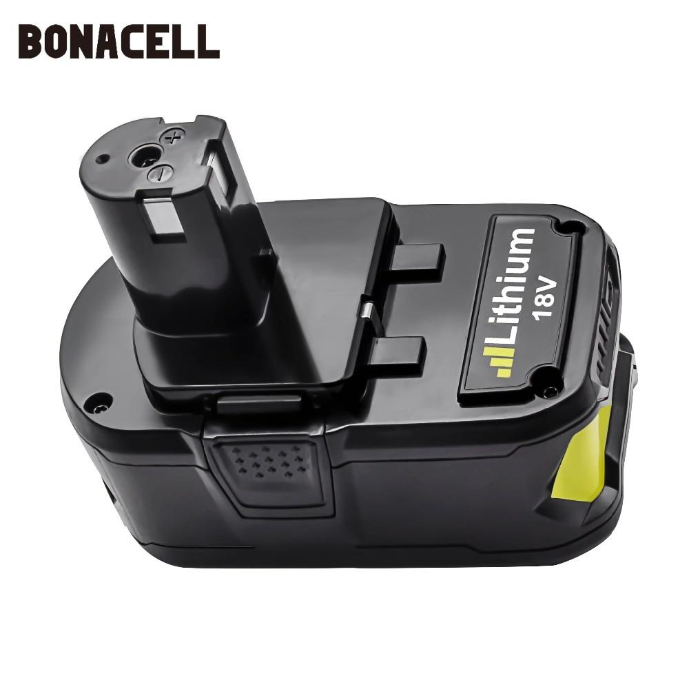 Image 2 - Bonacell 18 V 4000 мА/ч, литий ионный аккумулятор P108 P 108 Перезаряжаемые аккумулятор для Ryobi Батарея RB18L40 P2000 P310 для BIW180 L30-in Подзаряжаемые батареи from Бытовая электроника