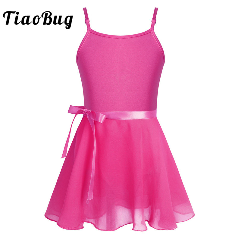 <font><b>TiaoBug</b></font> Kids Teens Professional Ballet Tutu Leotard with Chiffon Skirt Girls Spaghetti Straps Gymnastics Leotard Child Dancewear image
