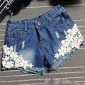 Women Casual Plus Size Lace Denim Shorts Skinny Sexy Summer Low Waist Button Fly Hole Rivet Vintage Washed Jeans Crochet Short