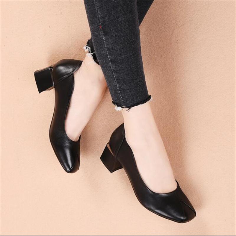2019 printemps chaussures en cuir véritable femmes appartements mode mocassins simple bout carré en cuir de vache mocassins noir travail chaussures