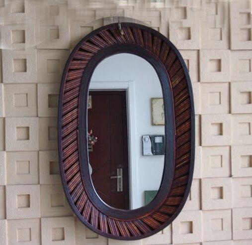Kingart Antique plus grand cadre en bambou et en bois miroir Mural ovale salon Mural décoratif grand miroir Mural suspendu