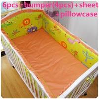 Korting! 6/7 stks baby beddengoed set gordijn crib bumper babybedje sets baby bed bumper, 120*60/120*70 cm