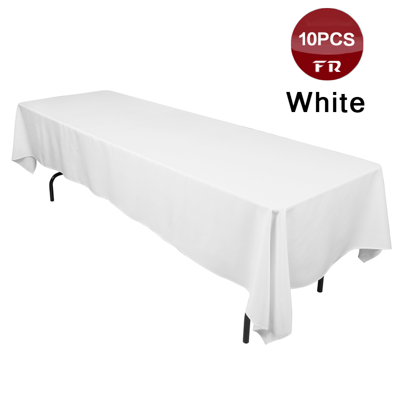 10PCS High Quality Polyester White Table Cloth for Wedding Banquet Party Hotel Home Catering Decor Tablecloth