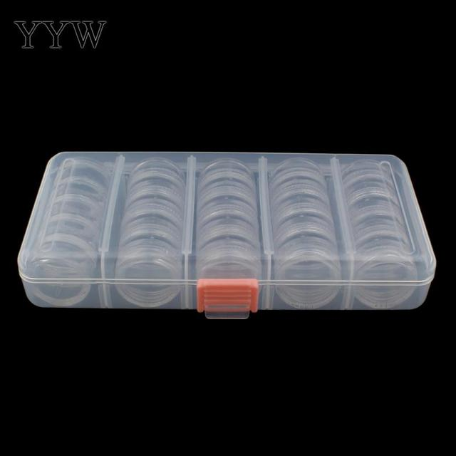 Plastic Flat Round Transparent Jewelry Beads Container Tins Loose
