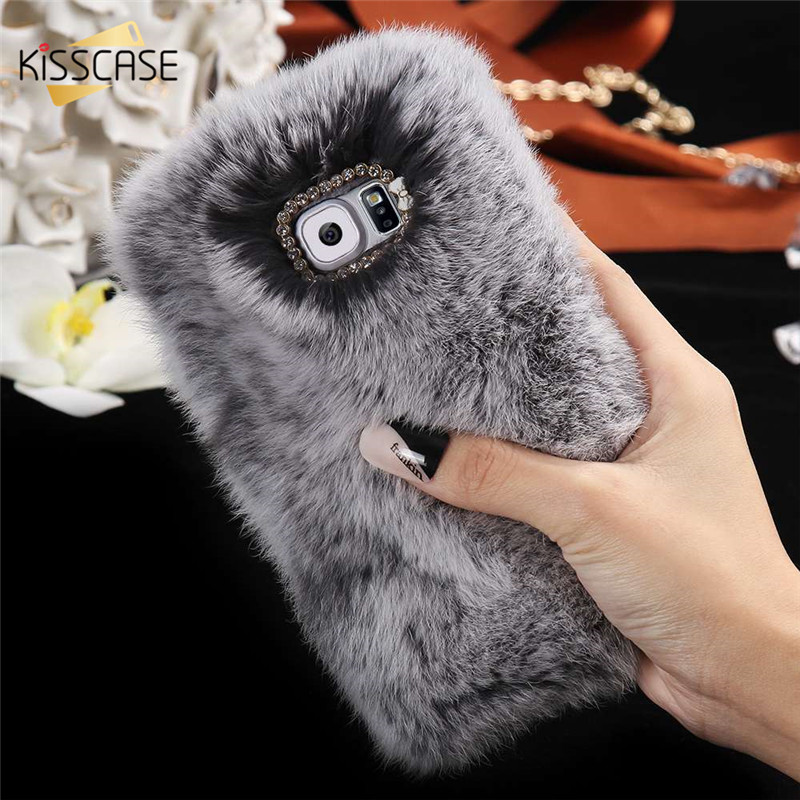 Kisscase rabbit fur case para samsung galaxy s5 i9600 s6 g9200 s6 borde g9250 s6