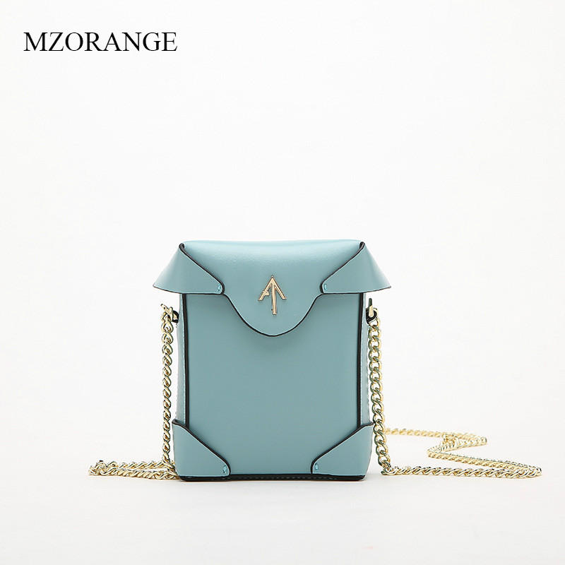 MZORANGE 2018 New Genuine Leather Mini Flap Women Handbag Fashion Chains Small Simple Ladies Bag Shoulder Crossbody Bags