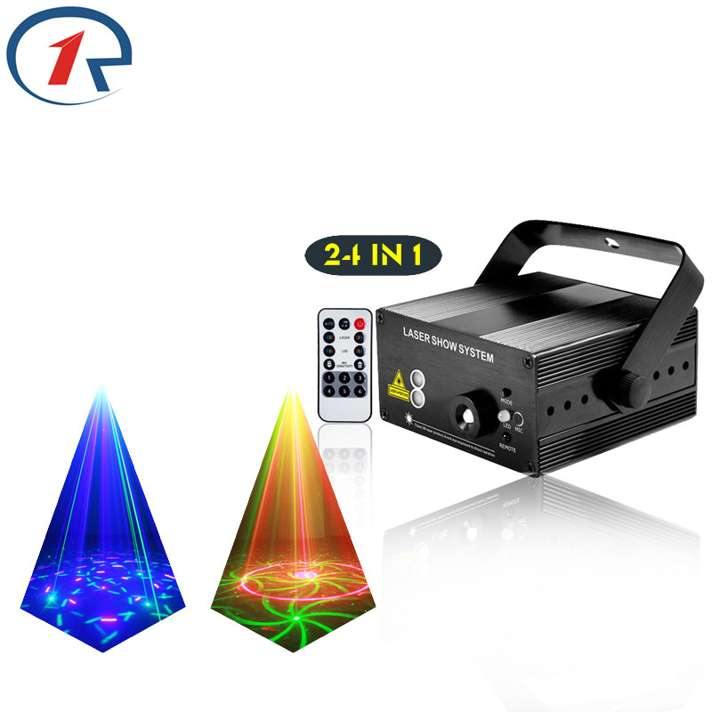 ZjRight IR Remote 24 pattern Red Green laser light Mix Blue LED stage light gala party projection colorful light dj disco lights gala blue 10062 белый