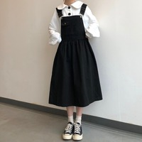 2019 Preppy Style Summer Dress Women Sleeveless Kawaii Long Sundress vestidos Streetwear Black Khaki Tank Strap Dress Ladies