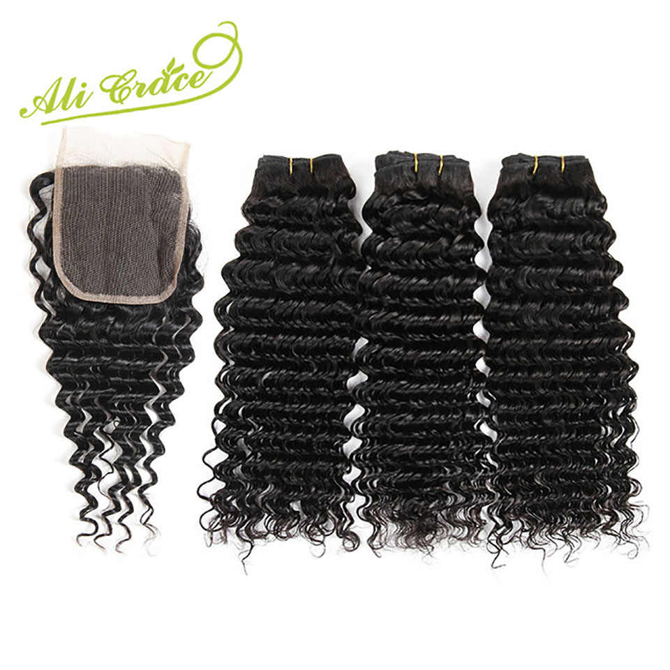 Ali Grace Hair Remy Human Hair Bundles With Closure 3 Bundles Malaysian Deep Wave Hair Weaving with Lace Closure Free&Middle