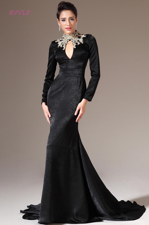 US $72.0 10% OFF|Black Evening Dresses 2018 Mermaid Long Sleeves Velvet  Appliques Beaded Plus Size Long Evening Gown Prom Dresses Robe De Soiree-in  ...