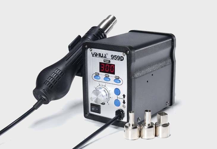 YIHUA 959D hot air rework station Rework Solder Station Heat Gun 650W EU/US Plug Electric Soldering Welding Reapir Hot Air Gun 1pcs 2000w electric hot air blower heat welding gun pistol soldering rework station with temperature adjust