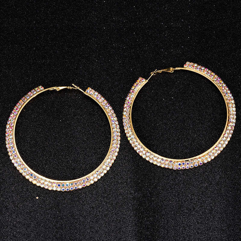 TDQUEEN AB Crystal Hoop Earrings Silver Plated and Gold Color Metal Round Circle Rhinestone Large Hoop Earrings for Women